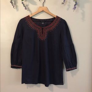 LUCKY BRAND Boho Embroidered Puff Sleeve Top